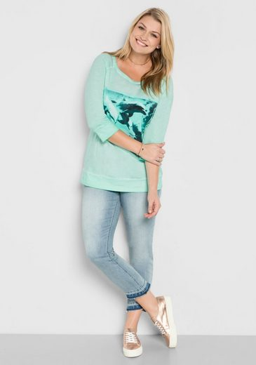 sheego Casual 3/4-Arm-Shirt, in Oil-washed-Optik