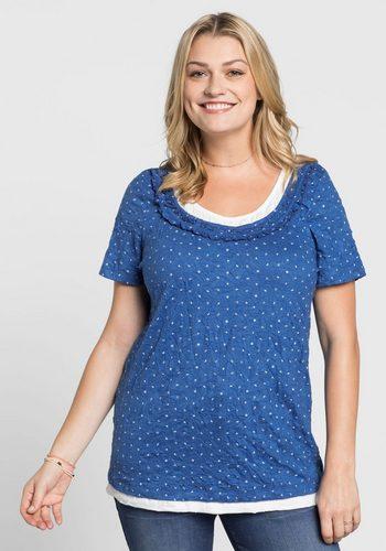 Damen sheego Casual T-Shirt in 2-in-1-Optik blau | 04054697768596