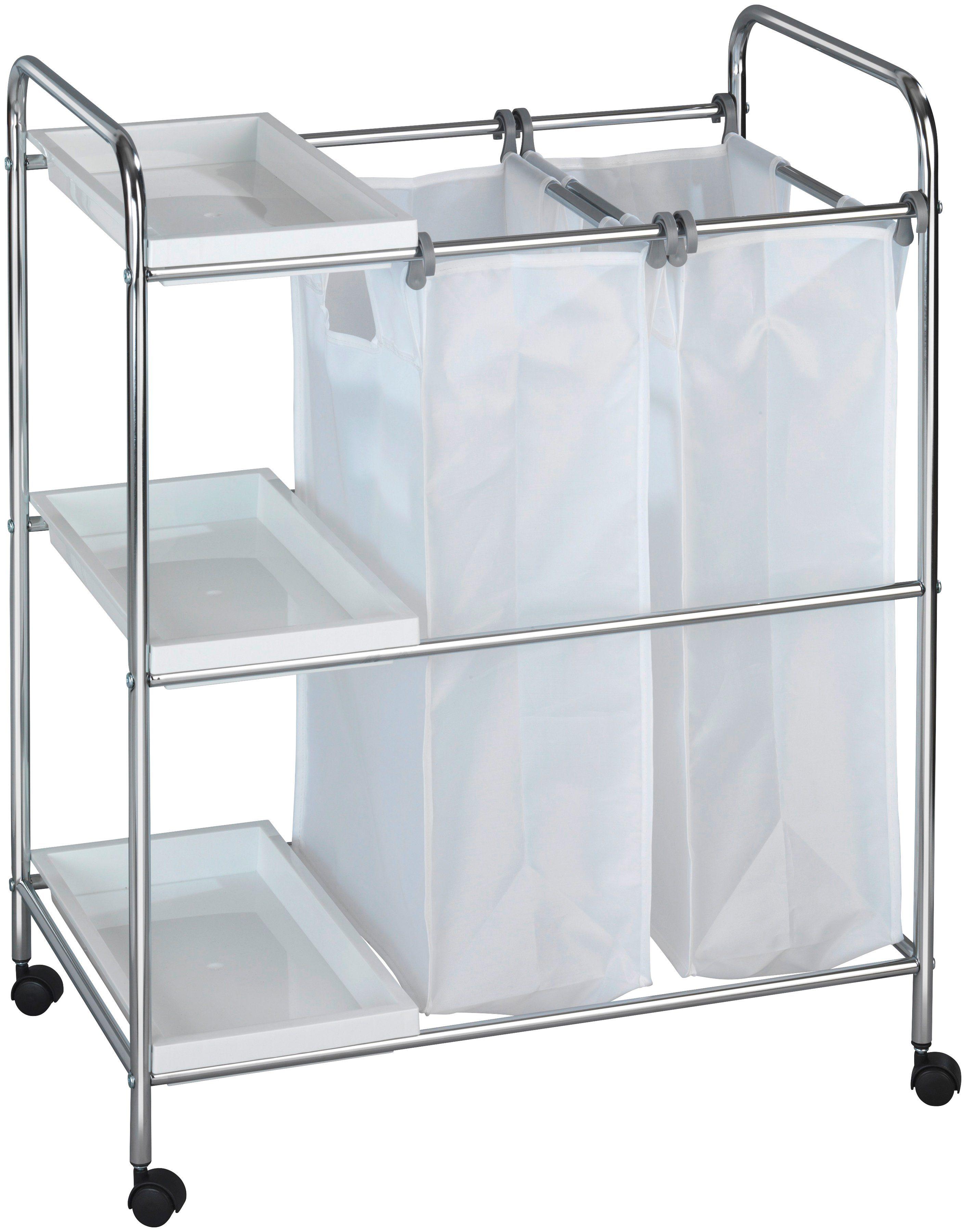 WENKO Wäschesammler »Wäschewagen Arona«, mit 3 Ablagen, 2 Wäschesäcke
