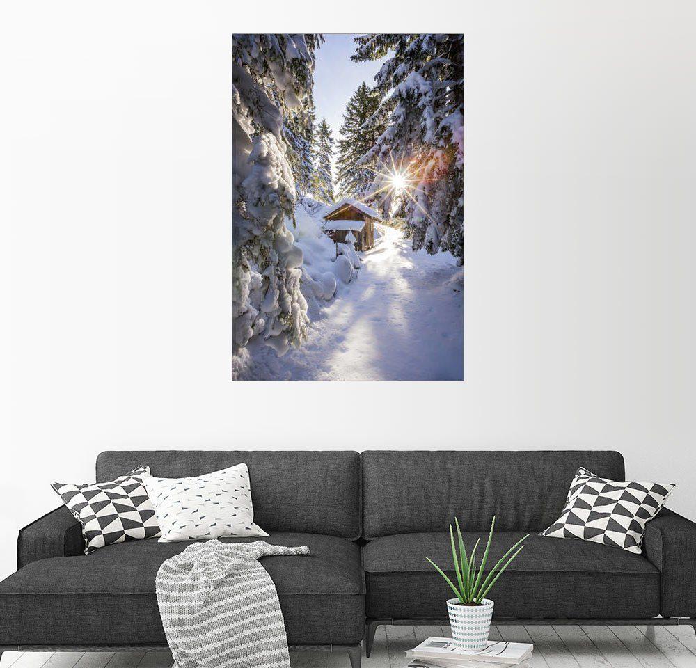 Posterlounge Wandbild - Coen Weesjes »Verschneite Hütte im Wald«