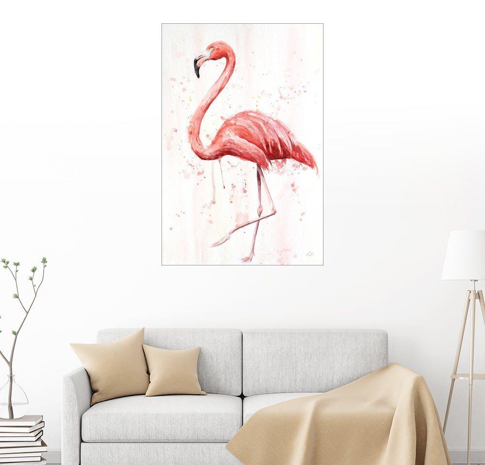 Posterlounge Wandbild - Nadine Conrad »Flamingo« | Dekoration > Bilder und Rahmen > Bilder | Holz | Posterlounge