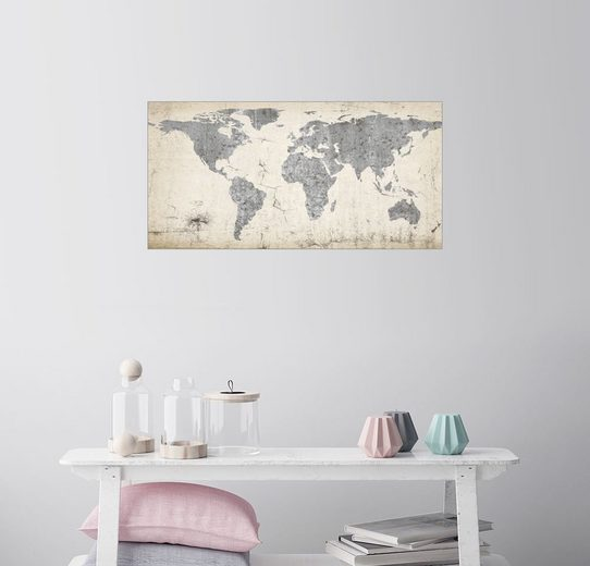 Posterlounge Wandbild »Vintage Weltkarte«