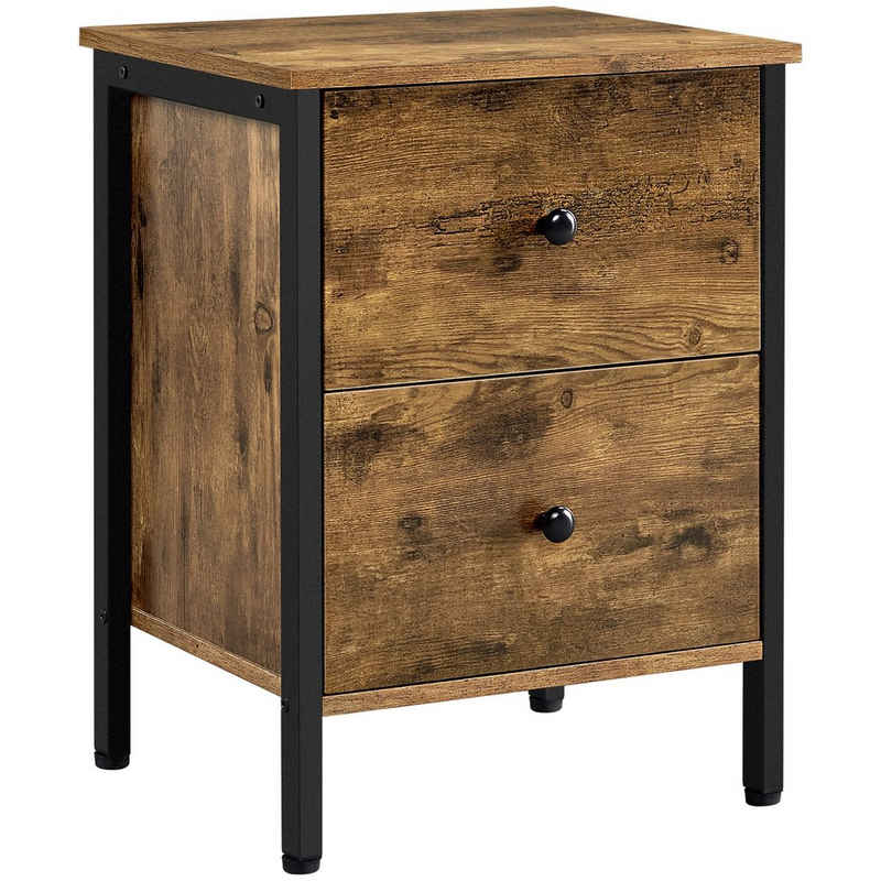 Yaheetech Nachttisch, Beistelltisch mit Schublade, Nachtschrank, leicht montierbar, Wohnzimmer, Schlafzimmer, Industrie-Design, Vintage