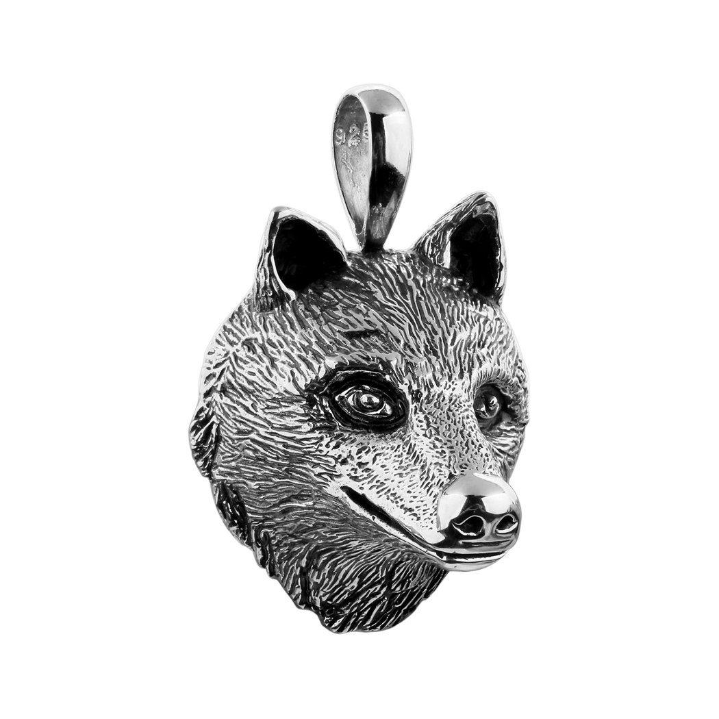 Kuzzoi Kettenanhänger Wunderschöner Wolfskopf Anhänger ein Symbol für Kraft
