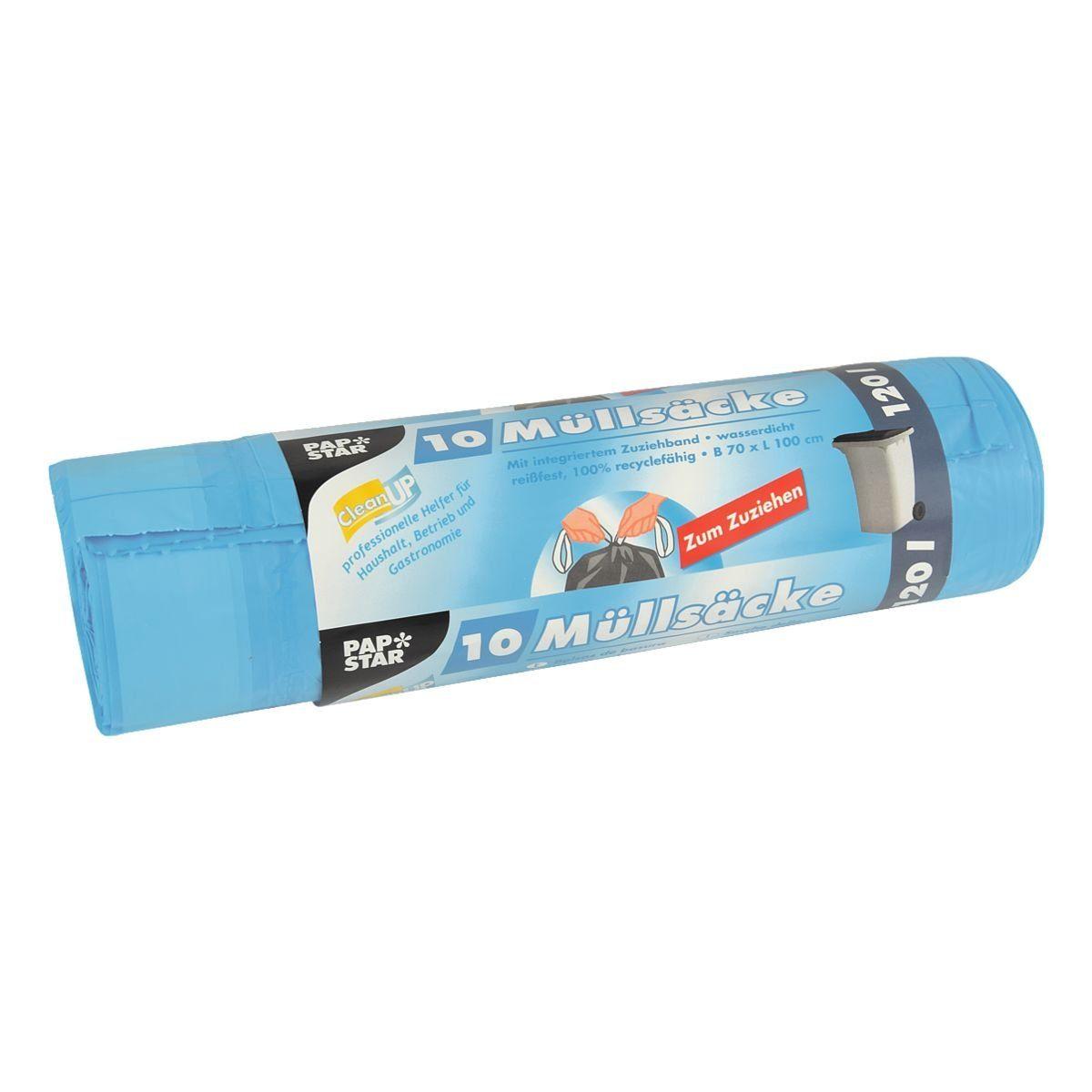 PAPSTAR 10 Müllsäcke mit Zugband 120 L blau