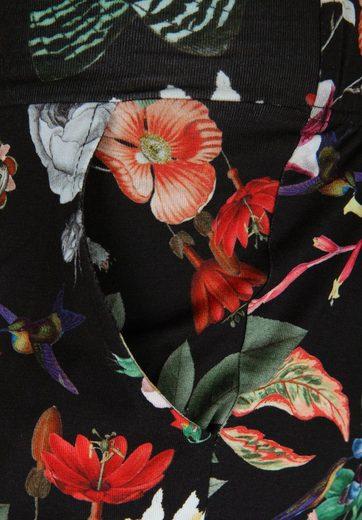 seeyou Jerseyhose mit tropischem Muster, Falten