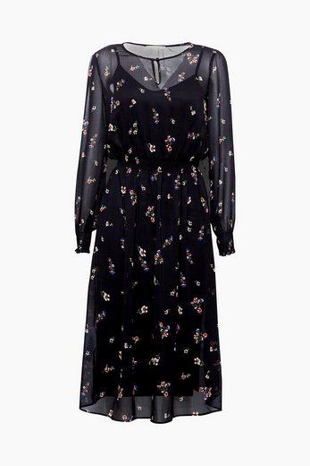 ESPRIT Florales Chiffon-Kleid in Midi-Länge
