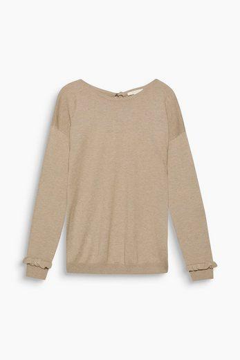 ESPRIT Softer Pullover mit Rüschen und Schleife