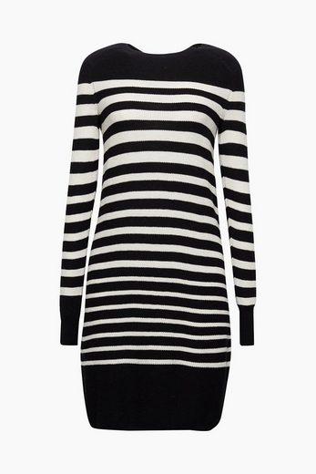 EDC BY ESPRIT Gestreiftes Strick-Kleid mit Wolle