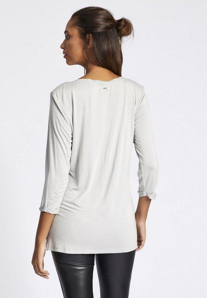 Damen khujo Longshirt LOKKA, mit nativem Print auf der Front grau | 04056852614199