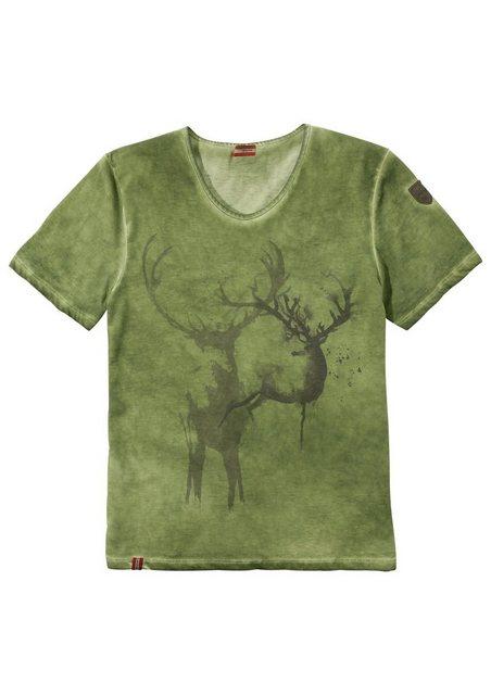 Damen,Herren Almgwand Trachtenshirt Herren mit dezentem Hirschdruck grün | 04047899788059