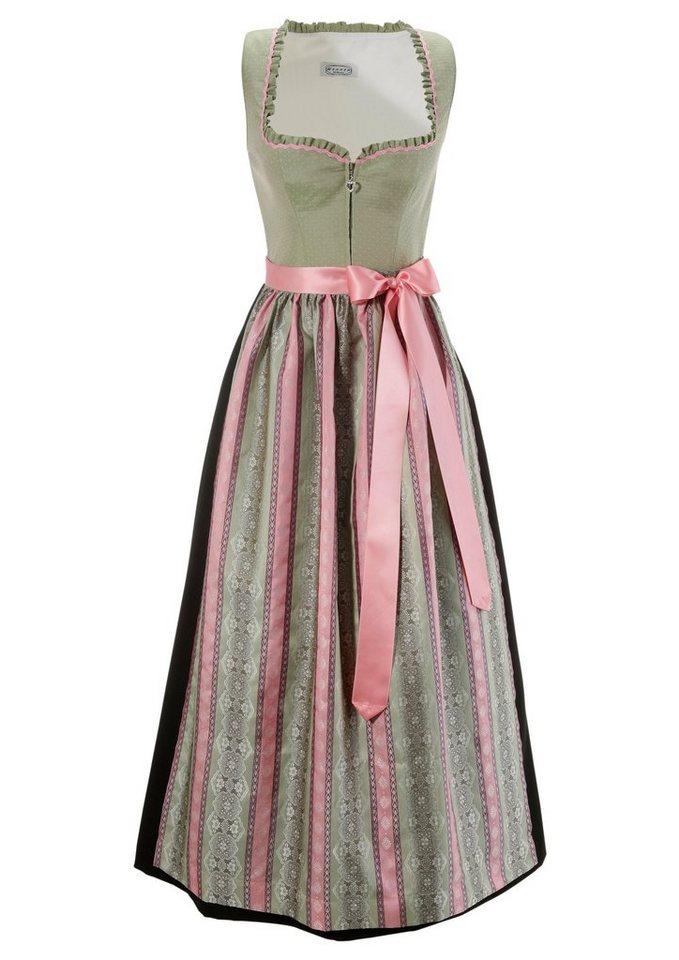 Damen Hannah  Dirndl lang mit Zipp vorne grün | 09009579019223