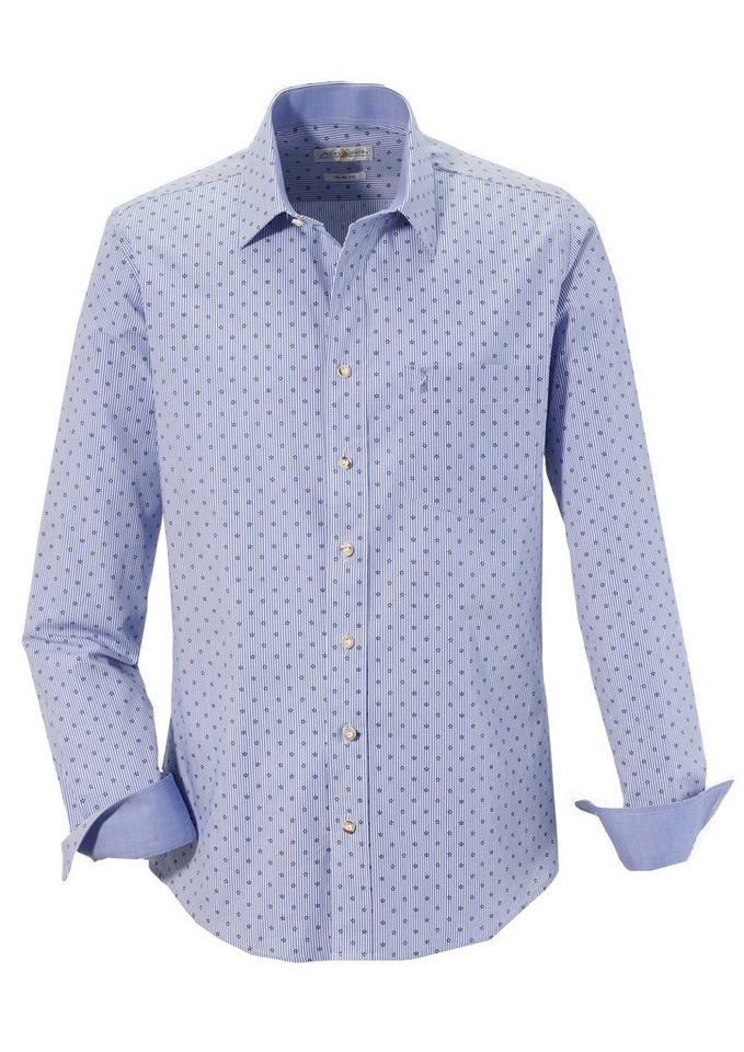 Herren Almsach Trachtenhemd im modernen Design blau   04250905519800