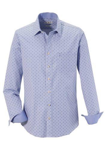 Herren Almsach Trachtenhemd im modernen Design blau | 04250905519794
