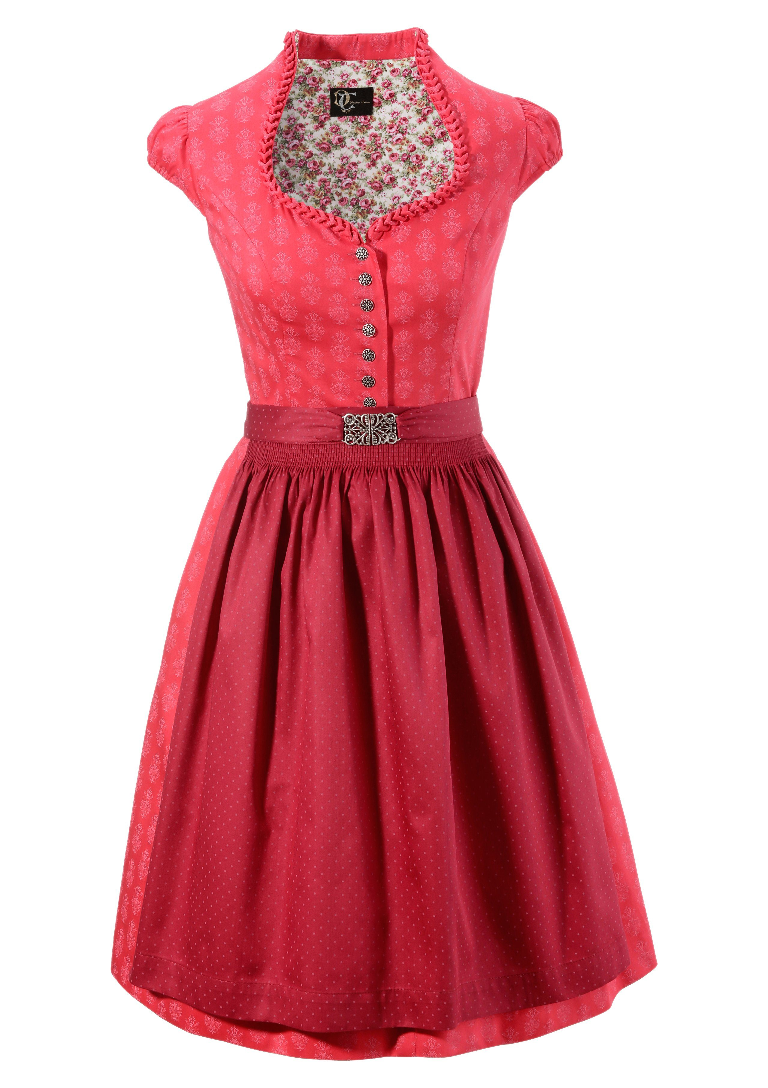 Damen Turi Landhaus Dirndl midi im traditionellem Mustermix rot | 04012043953874