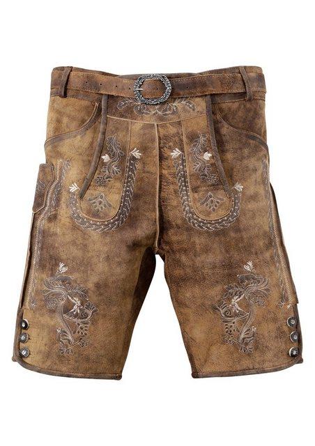 Mondkini Trachtenlederhose kurz Herren mit aufwendiger Stickerei | Bekleidung > Hosen > Lederhosen | Braun | MondKini