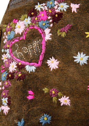 Country Line Trachtenlederhose kurz Damen mit Stickerei