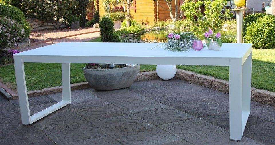 Gartentisch alu glas  LECO Gartentisch »Exklusivline«, Aluminium/Glas, 220x100 cm, mit ...