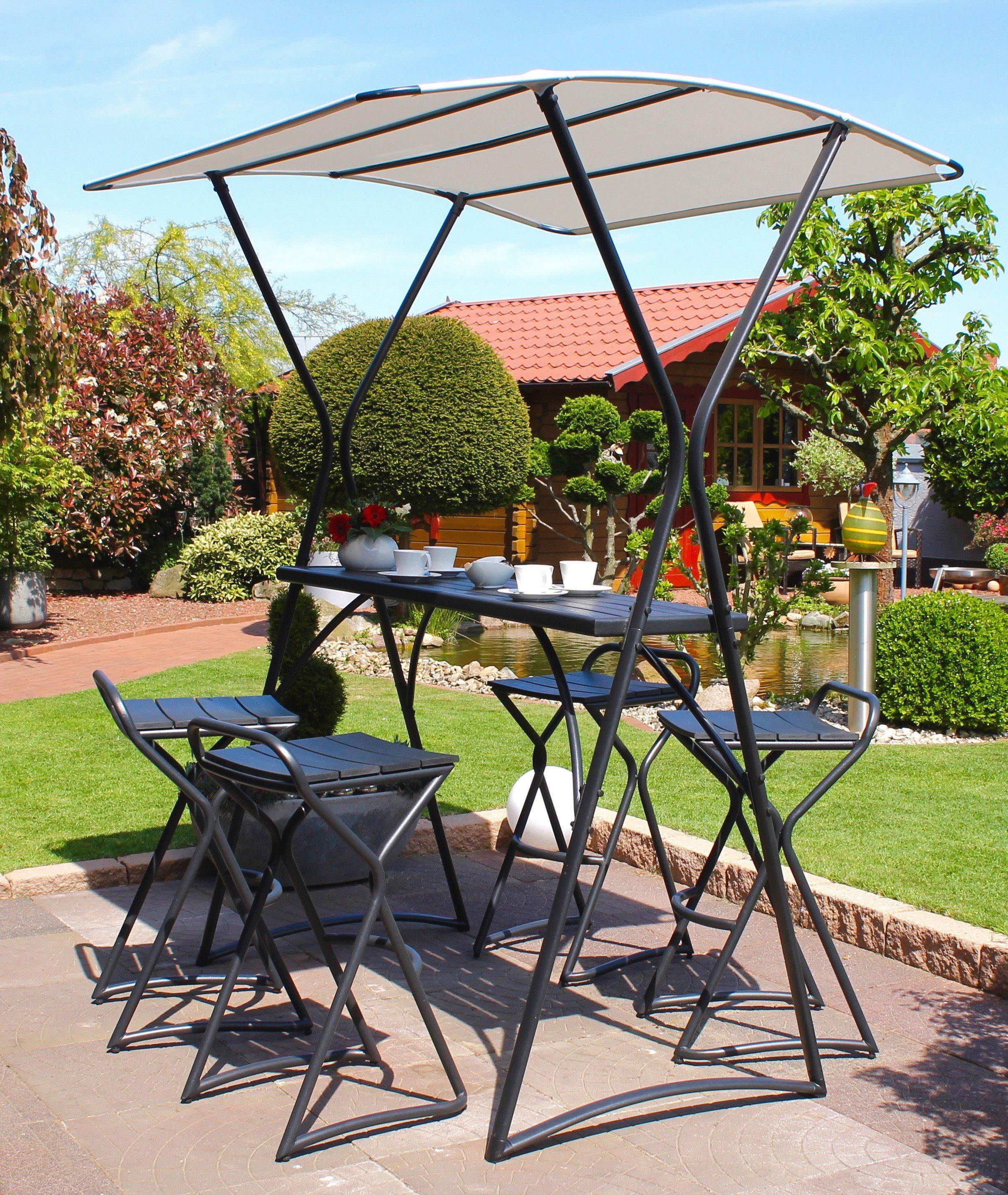 LECO Gartentisch »Gartentheke«, Stahl/Polyester, mit Dach