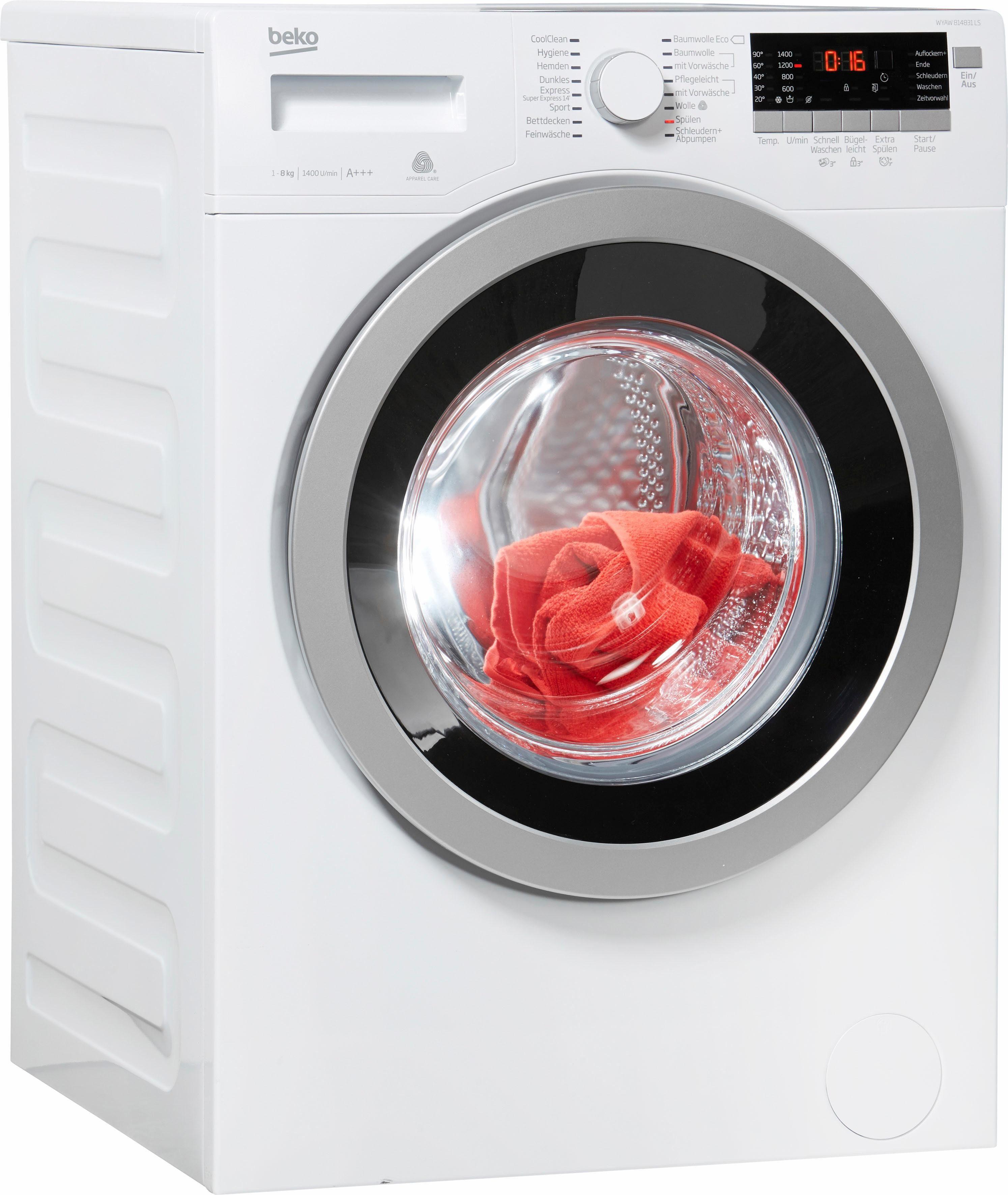 BEKO Waschmaschine WYAW 814831 LS, 8 kg, 1400 U/Min