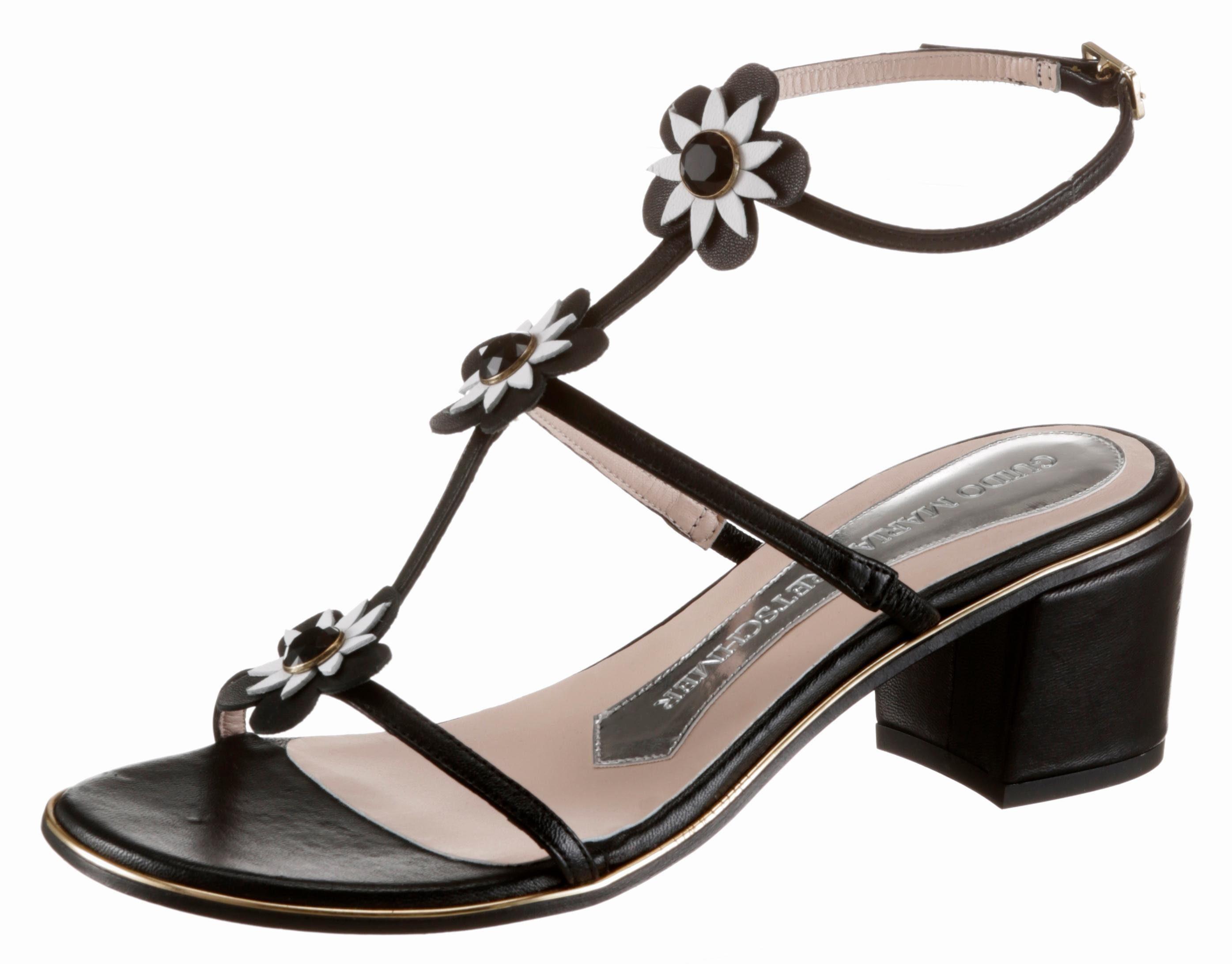 GUIDO MARIA KRETSCHMER Sandalette, mit Blüten und funkelnden Schmucksteinen, schwarz, schwarz-weiß