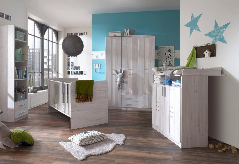 komplett babyzimmer pellworm babybett wickelkommode gro er kleiderschrank 3 tlg set. Black Bedroom Furniture Sets. Home Design Ideas