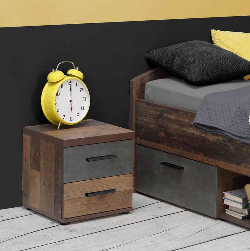 möbelando Nachttisch »Vyronas«, Nachtkonsole im Vintage-Design aus Spanplatte in Old Wood Vintage Nachbildung / Betonoptik Dunkelgrau mit 2 Schubkästen. Breite 37,6 cm, Höhe 38,6 cm, Tiefe 34,7 cm