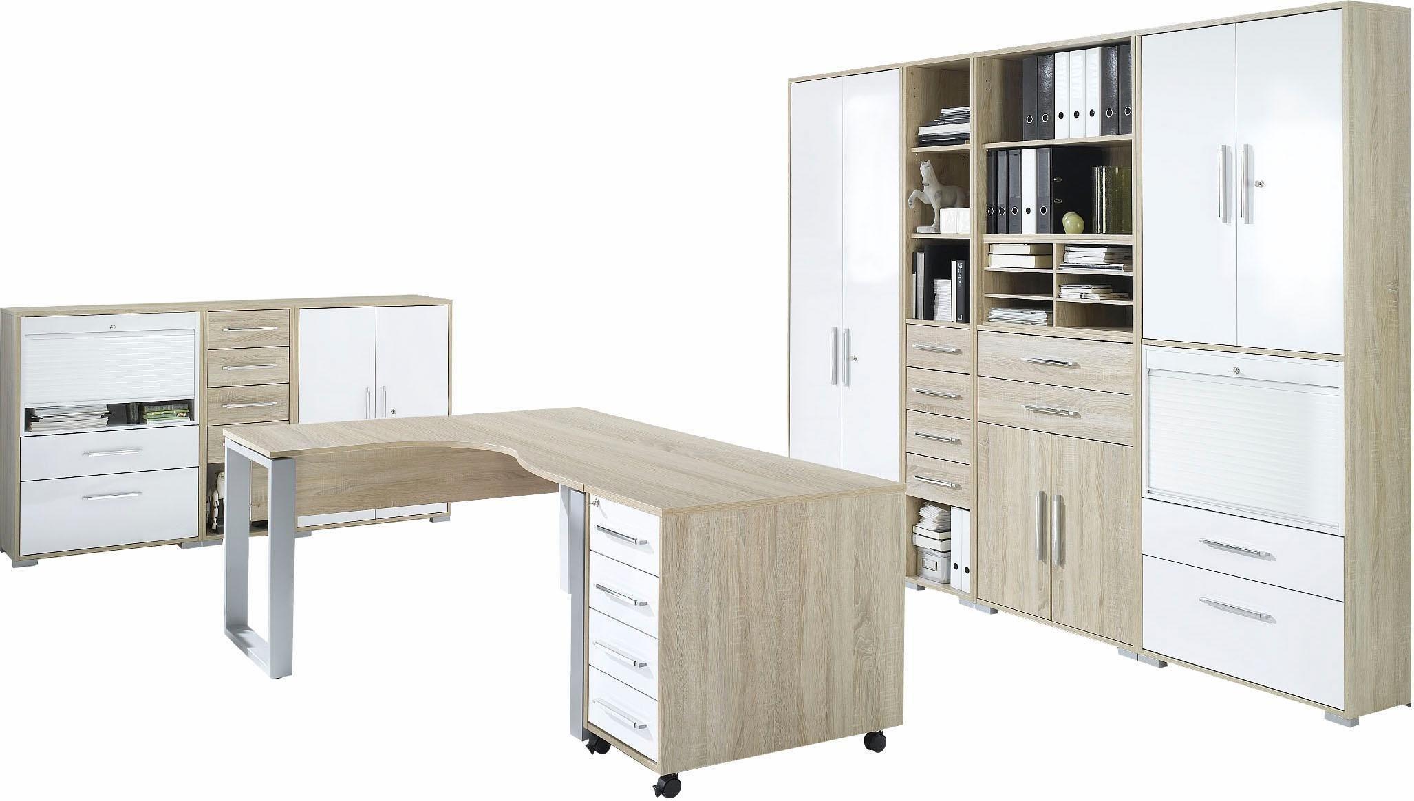 Maja Möbel Büromöbel-Set »1210 SYSTEM« (9-tlg.) | Büro > Büromöbel-Serien | Weiß | Sonoma - Eiche - Kunststoff - Abs | Maja Möbel