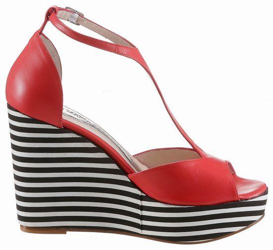 GUIDO MARIA KRETSCHMER Sandalette, mit gestreiftem Keilabsatz