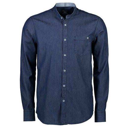 LERROS Stehkragenhemd in leichtem Indigo-Denim
