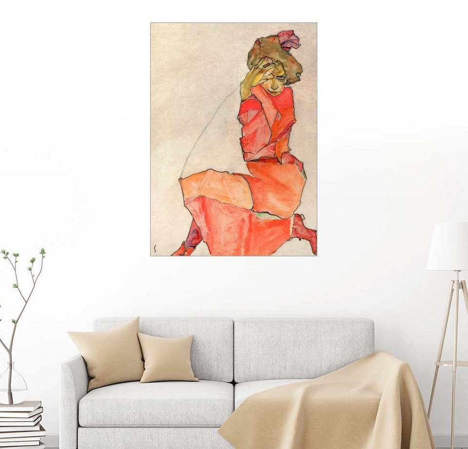 posterlounge wandbild egon schiele kniende frau in. Black Bedroom Furniture Sets. Home Design Ideas