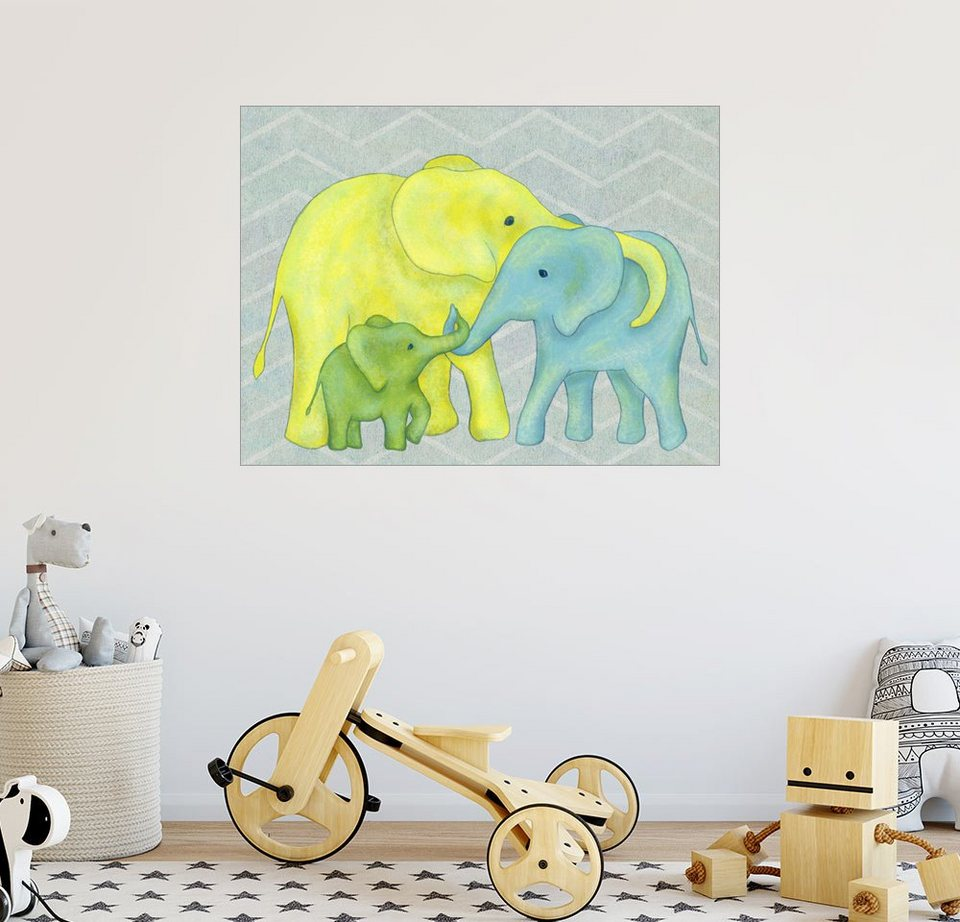 Posterlounge wandbild lindsey rounbehler elefanten familie online kaufen otto - Wandbild familie ...