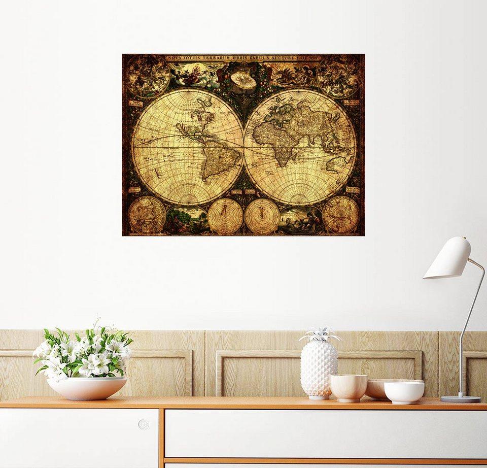 Posterlounge Wandbild - Michaels Antike Weltkarten »Welt 1660 ...