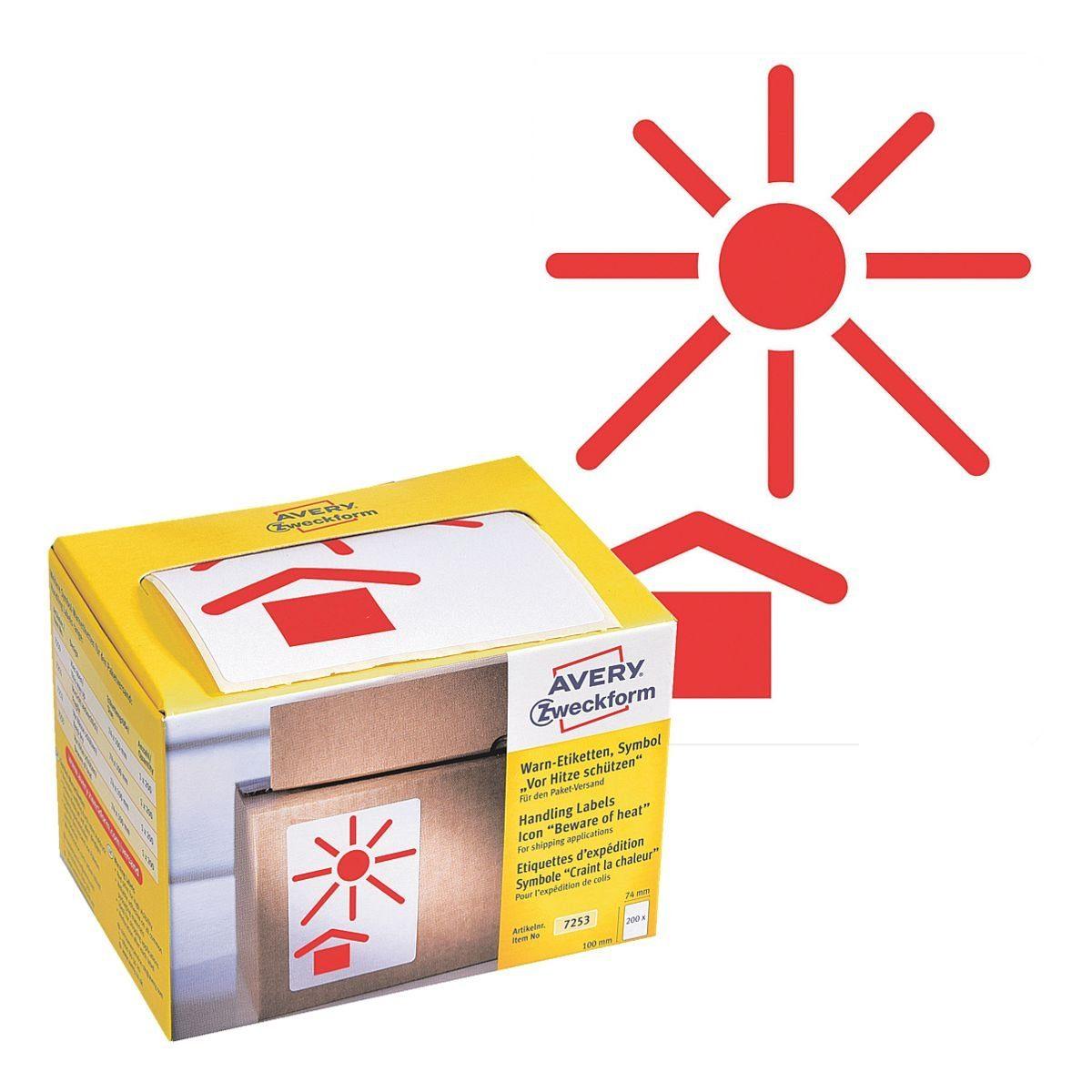 Avery Zweckform Warnetiketten 7253 , 74 x 100 mm »Symbol Hitze«