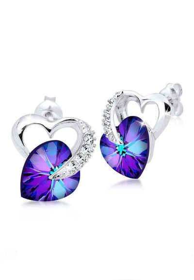Haasow Angebote Elli Ohrringe »Herz Liebe Swarovski Kristalle 925 Silber Carina«