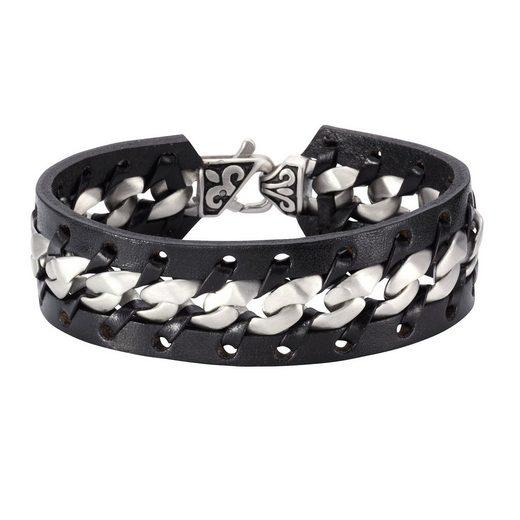 NOX Armband »Leder schwarz Edelstahl matt«