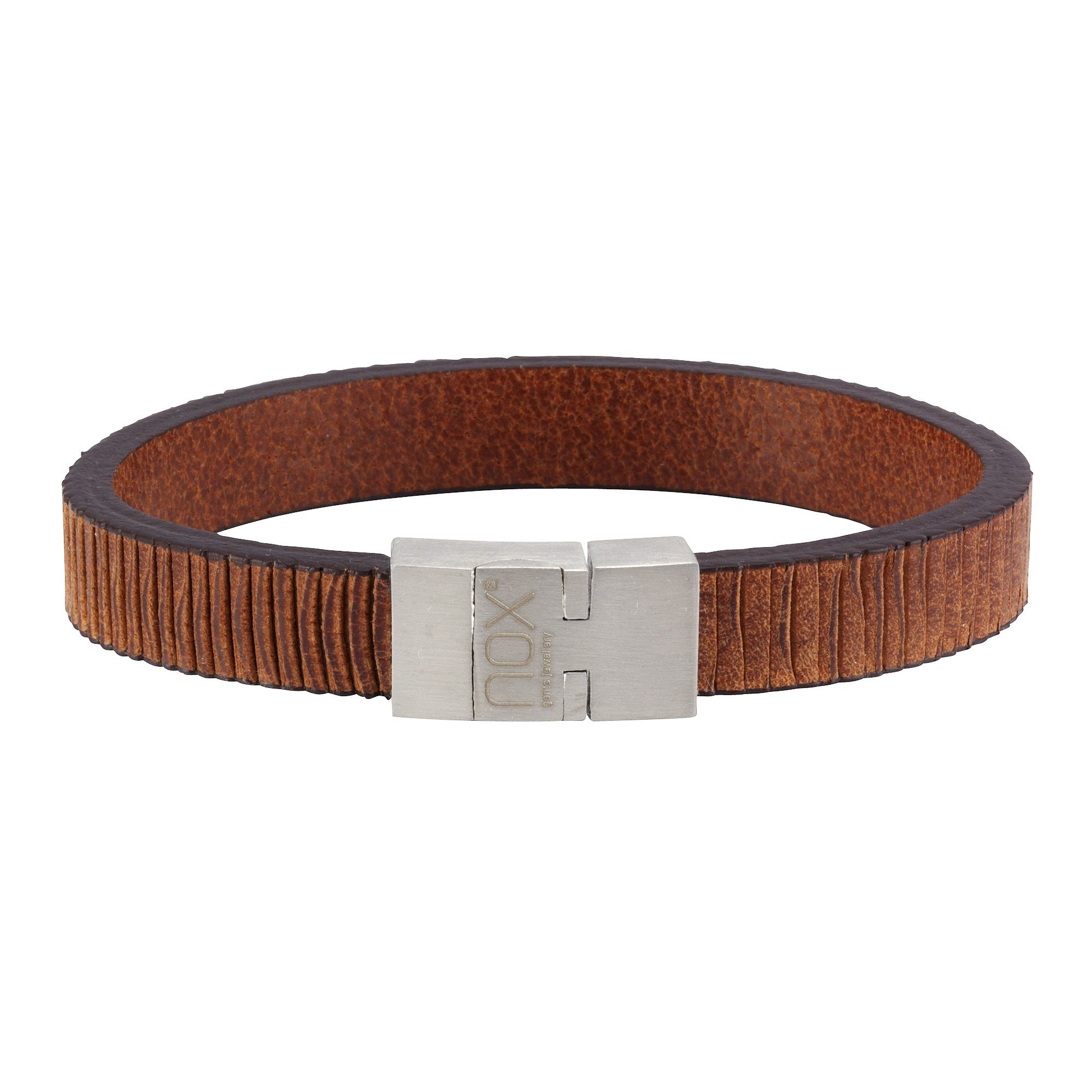NOX Armband »Leder braun Edelstahl«