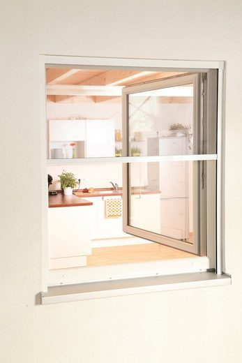 hecht international Insektenschutz-Rollo »SMART«, für Fenster, weiß/anthrazit, BxH: 130x160 cm