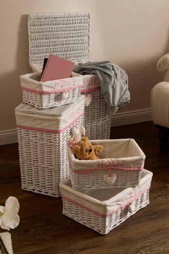 Home affaire Wäschekorb »Home« (Set, 5 Stück), weiß/pink