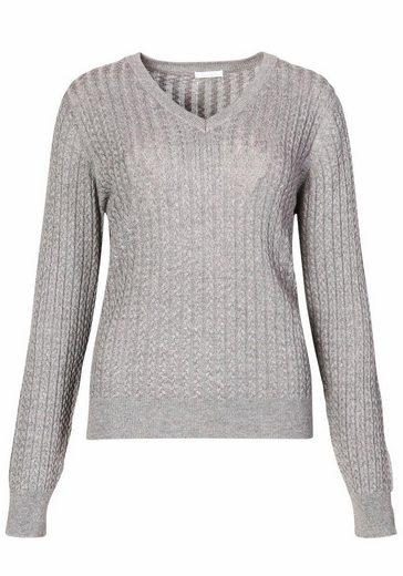 CLAIRE WOMAN V-Ausschnitt-Pullover, mit Zopfmuster