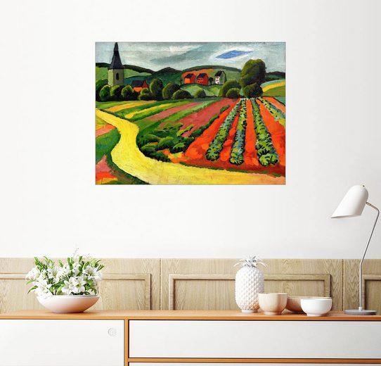 Posterlounge Wandbild - August Macke »Landschaft mit Kirche und Weg«