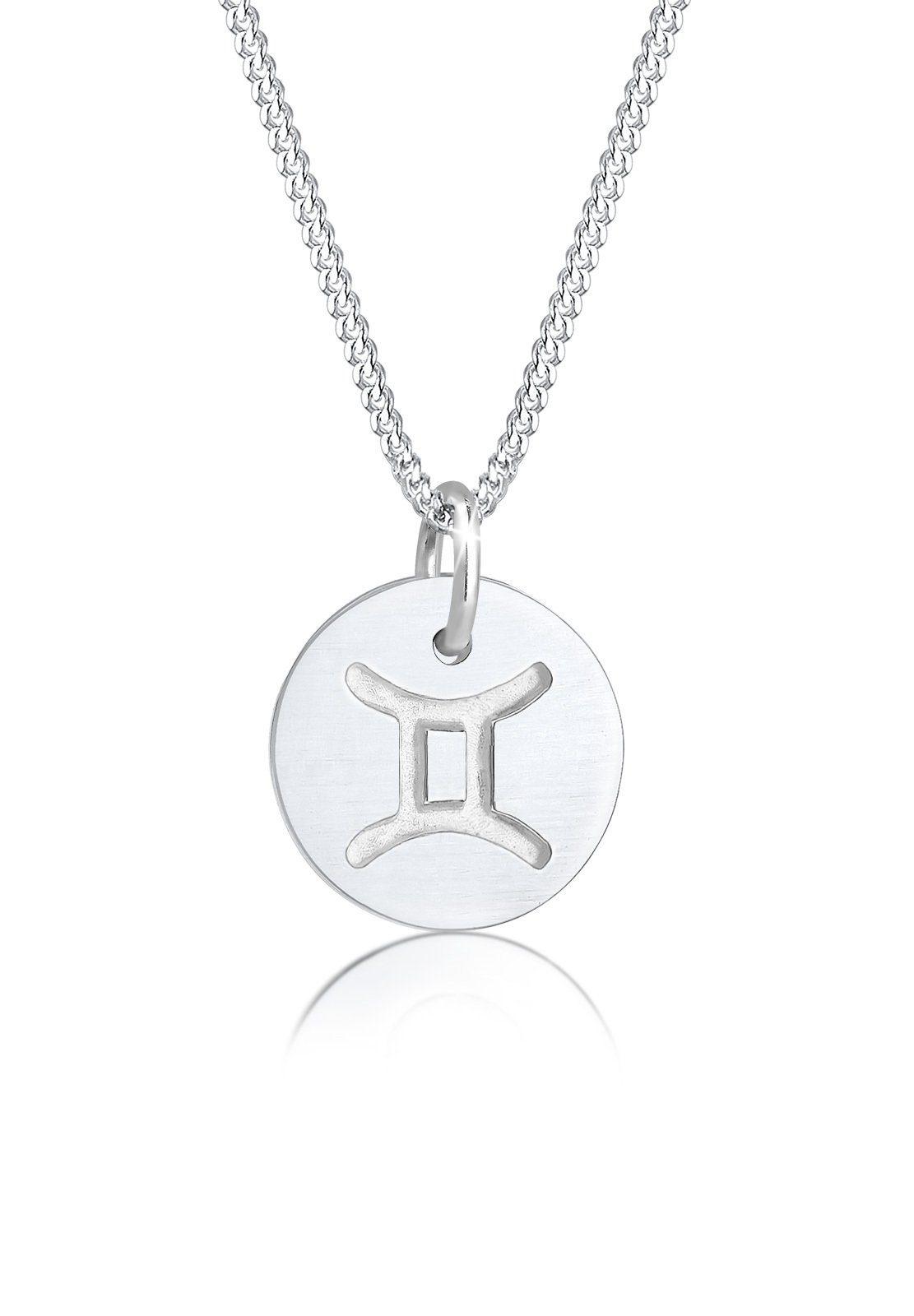 Elli Halskette »Sternzeichen Zwillinge Astro Symbol Matt Silber«
