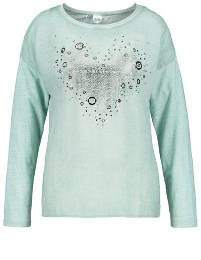 Taifun T-Shirt Langarm Rundhals Longsleeve mit Herz-Print