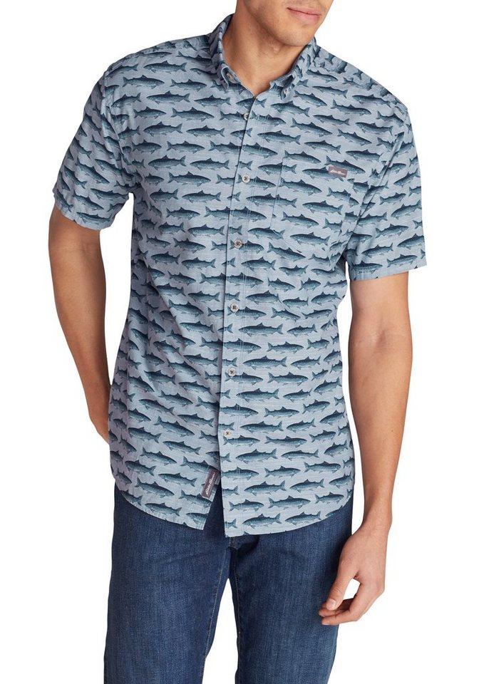 Herren Eddie Bauer Kurzarmhemd Grifton Hemd – Kurzarm – Bedruckt blau | 04057682103495