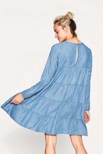 ESPRIT Volant-Kleid aus fließendem Lyocell