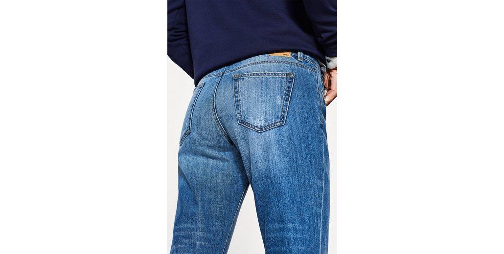 EDC BY ESPRIT Verkürzte Used-Stretch-Jeans Günstig Kaufen Bequem AfOJvi