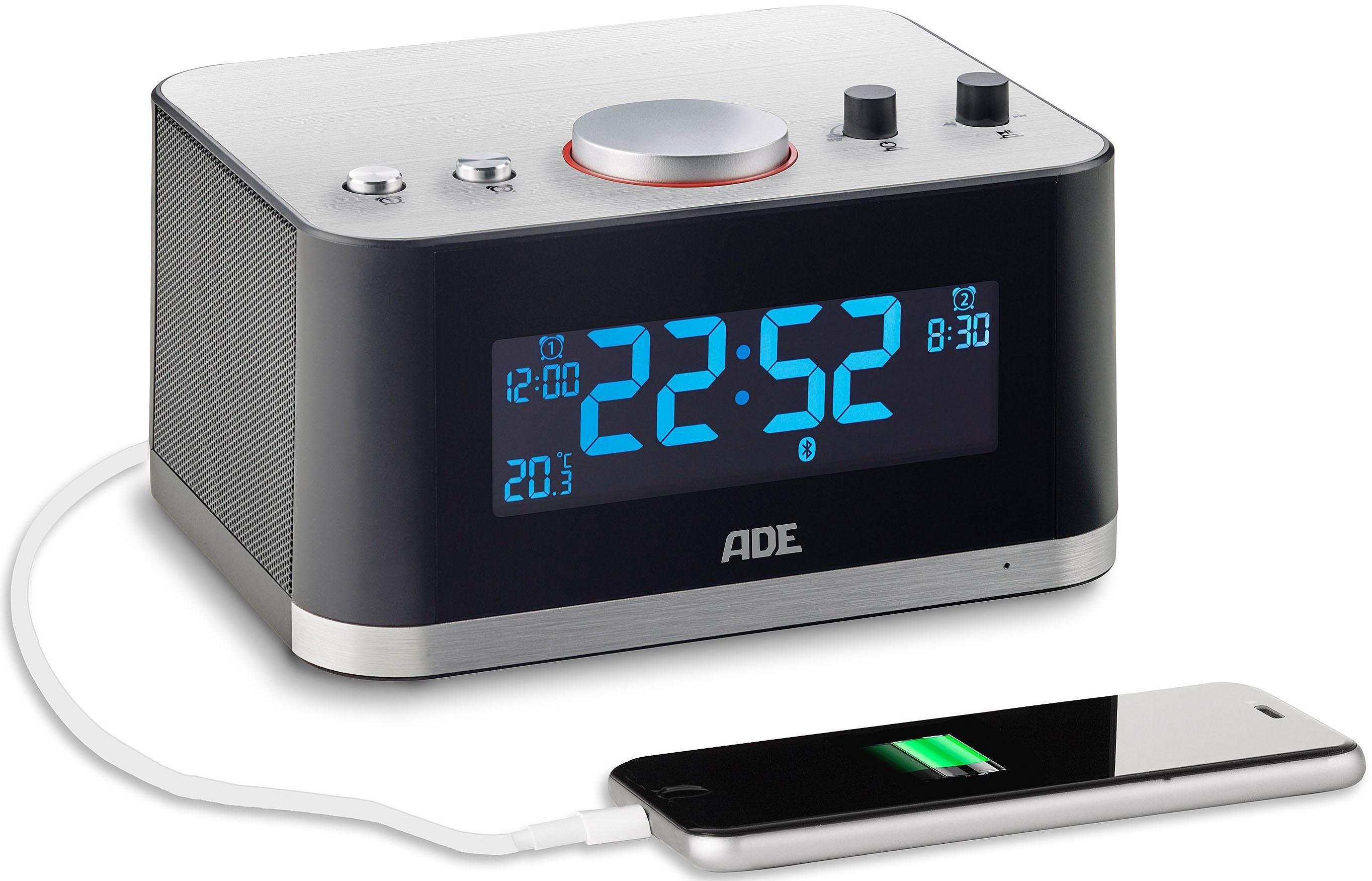ADE Multimediawecker mit Bluetooth-Lautsprecher CK 1706, Traumhaft vielseitig – Aufwachen mit Lieblinsmusik, Einschlafen mit Hörbuch   Dekoration > Uhren > Wecker   Schwarz   Abs   ADE