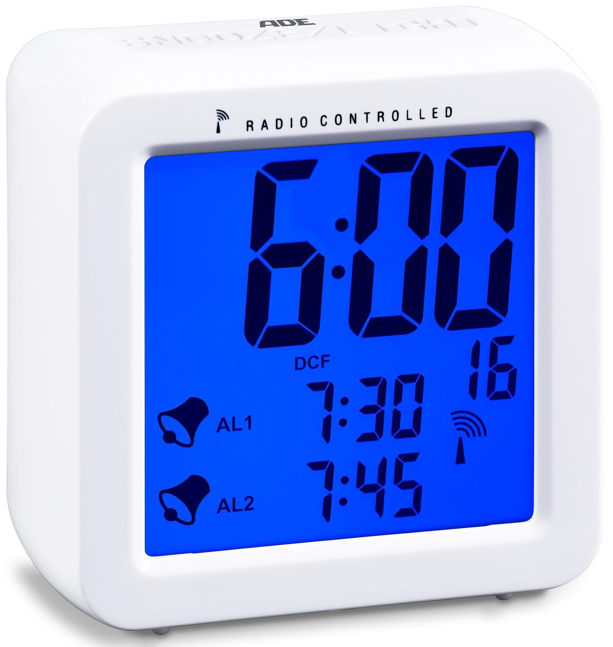 ADE Funkwecker CK 1701, Nie mehr verschlafen – dank Dual-Alarm und automatischem Funksignal | Dekoration > Uhren > Wecker | Abs - Kunststoff | ADE