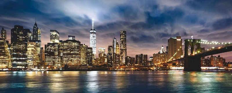 Places of Style Glasbild »New York City - Sonnenaufgang über Manhattan/Brooklyn Bridge USA«, 125/50 cm