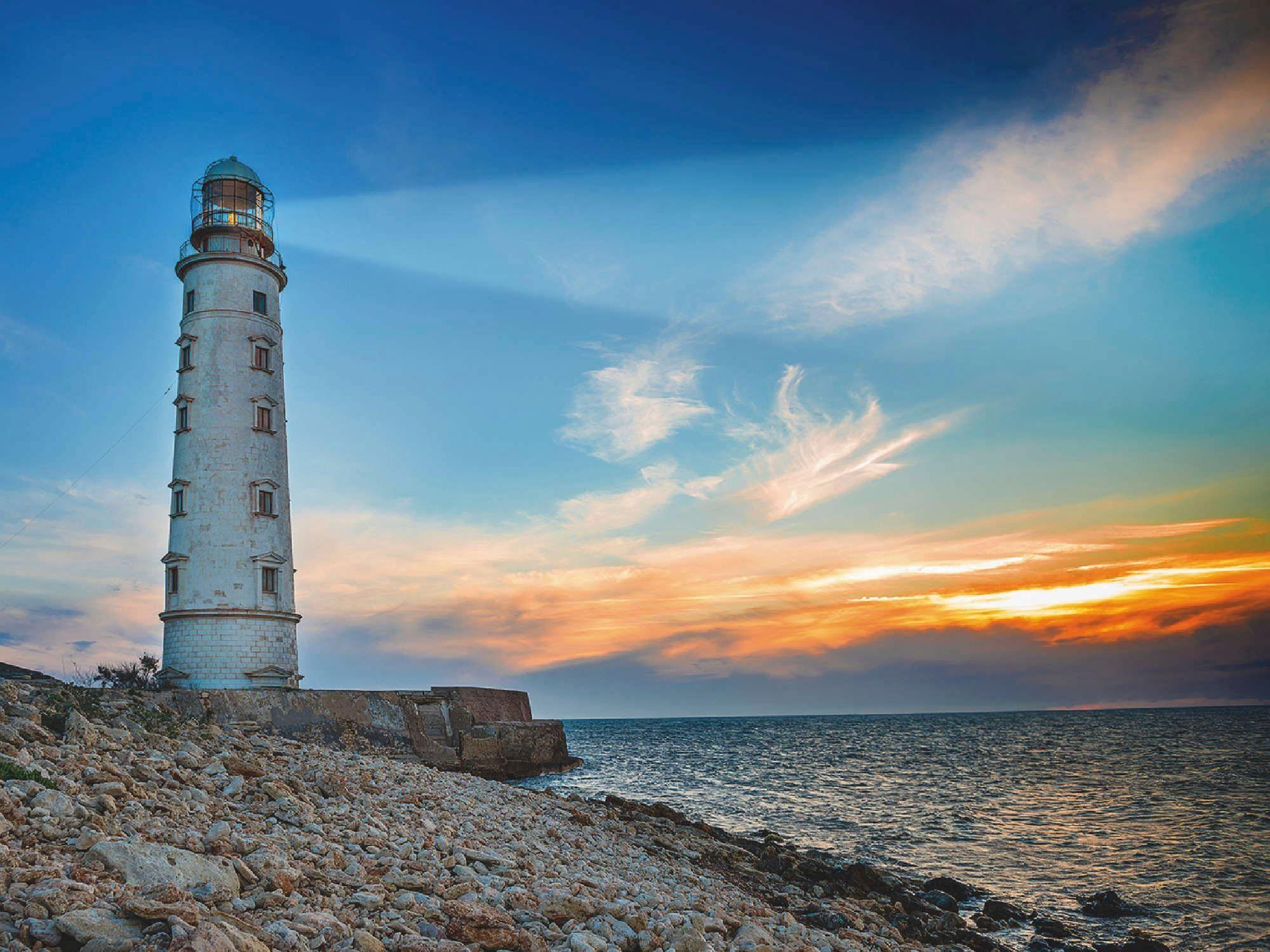 Home affaire Leinwandbild »P. Vakhrushev: Leuchtturm Suchscheinwerfer bei Sonnenuntergang«, Landschaft, 80/60 cm